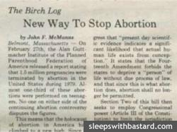 Example of a John Birch Society column in the Oswego Valley News, April 1981.